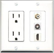 RiteAV - 15 Amp Power Outlet 1 Port HDMI 1 Port RCA White 1 Port BNC Dec... - $29.99