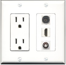 RiteAV - 15 Amp Power Outlet 1 Port HDMI 1 Port Toslink 1 Port BNC Decora Wall P - $34.99