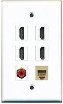Rite Av   4 Port Hdmi 1 Rca Red 1 Phone Rj11 Rj12 Beige Wall Plate - $26.33