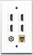 RiteAV - 4 Port HDMI 1 RCA White 1 Phone RJ11 RJ12 Beige Wall Plate - $26.33
