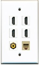 RiteAV - 4 Port HDMI 1 RCA Yellow 1 Phone RJ11 RJ12 Beige Wall Plate - $26.33