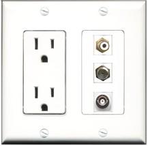 RiteAV - 15 Amp Power Outlet 1 Port RCA White 1 Port Coax 1 Port BNC Dec... - $29.99