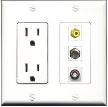 RiteAV - 15 Amp Power Outlet 1 Port RCA Yellow 1 Port Coax 1 Port BNC De... - $29.99