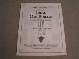 1937 VINTAGE AGP CORP. IDEAL GAS BOILERS ILLUSTRATED PRICE LIST CATALOG ... - $7.69