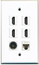 RiteAV - 4 Port HDMI 1 Toslink 1 Cat5e Ethernet White Wall Plate White - $26.33