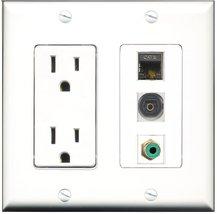 RiteAV - 15 Amp Power Outlet 1 Port RCA Green 1 Port Shielded Cat6 Ether... - $29.99