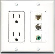 RiteAV - 15 Amp Power Outlet 1 Port RCA Green 1 Port Coax 1 Port Cat6 Et... - $17.33