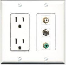 RiteAV - 15 Amp Power Outlet 1 Port RCA White 1 Port RCA Green 1 Port Co... - $17.33