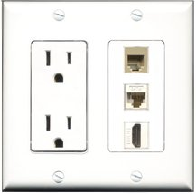 RiteAV - 15 Amp Power Outlet 1 Port HDMI 1 Port Phone Beige 1 Port Cat6 ... - $29.99