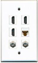 RiteAV - 3 HDMI 2 Port Coax Cable TV- F-Type 1 Port Cat6 Ethernet White ... - $26.33