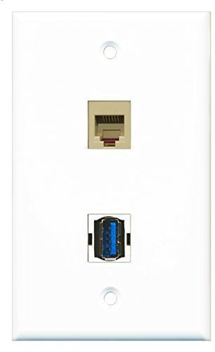 RiteAV - 1 Port Phone Beige 1 Port USB 3 A-A Wall Plate