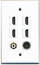 RiteAV - 4 Port HDMI 1 RCA White 1 Toslink Wall Plate - $26.33