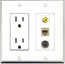 RiteAV - 15 Amp Power Outlet 1 Port RCA Yellow 1 Port Phone Beige 1 Port 3.5m... - $29.99