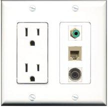 RiteAV - 15 Amp Power Outlet 1 Port RCA Green 1 Port Phone Beige 1 Port 3.5mm... - $29.99