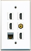 RiteAV - 4 HDMI 1 Port RCA Yellow 1 Port Shielded Cat6 Ethernet Wall Plate - $26.33