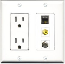 RiteAV - 15 Amp Power Outlet 1 Port RCA Yellow 1 Port Coax 1 Port Shielded Ca... - $29.99