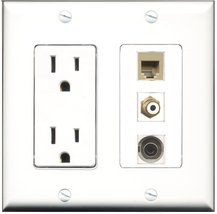 RiteAV - 15 Amp Power Outlet 1 Port RCA White 1 Port Phone Beige 1 Port ... - $29.99