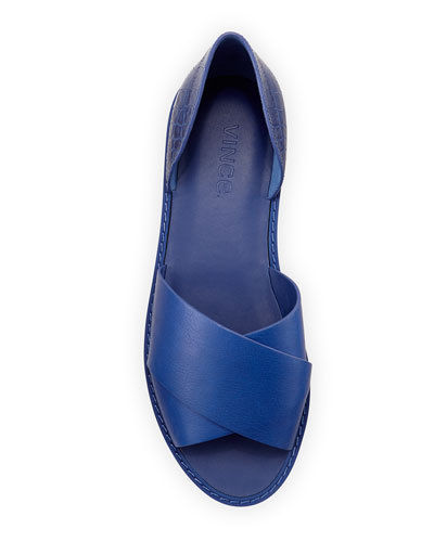 NIB $250 Vince Ida Criss Cross Open Toe Flats in Cobalt 8