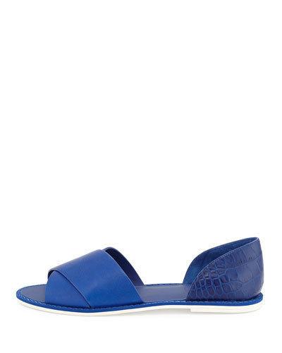 NIB $250 Vince Ida Criss Cross Open Toe Flats in Cobalt 8