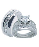 His Hers Solid 925 Sterling Silver Cz Wedding R... - $59.99