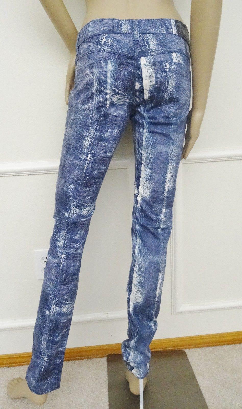 cdf6e6e3 Nwt Designer DIESEL Livier SP Low Waist Super Skinny Jegging 26 2 Snakeskin  Blue