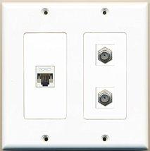 RiteAV - 2 Port Coax Cable TV- F-Type 1 Port Cat5e Ethernet White - 2 Ga... - $22.99