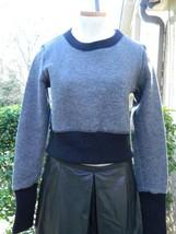 Billy Reid Sweater Cropped Long Sleeve Gray Wool Black Trim M Medium - $1.502,05 MXN