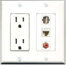 RiteAV - 15 Amp Power Outlet 1 Port RCA Red 1 Port USB A-A 1 Port Cat6 E... - $29.99