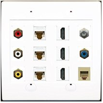 RiteAV 3 RCA Composite 3 Cat6 Ethernet 3 HDMI Coax RCA Phone Wall Plate - $65.99