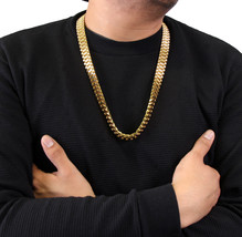 Mens 14k Gold Plated 15mm HQ Stainless Steel Hip Hop Style Chain Necklac... - $148.49