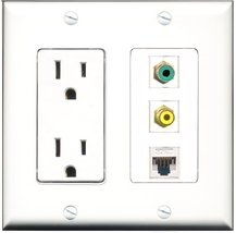 RiteAV - 15 Amp Power Outlet 1 Port RCA Yellow 1 Port RCA Green 1 Port Cat5e ... - $29.99