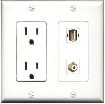 RiteAV - 15 Amp Power Outlet and 1 Port RCA White and 1 Port USB A-A Decora T... - $29.99