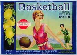 Basketball Lemons Fruit Crate Label Art Print Vintage Athletic Sexy Girl - $9.87