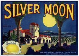 Silver Moon Sunkist Lemon Citrus Crate Label Art Print San Fernando CA - $9.87