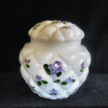 Glass Biscuit Jar Florette or Quilted Diamond with Hand Painted Violets ... - $45.00