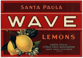 "Wave Lemons Fruit Crate Label Art Print  Santa Paula Fruit CA 8.5""x11"" - $8.90"