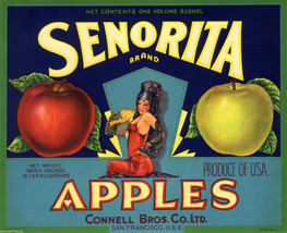 Senorita Apples Fruit Crate Label Art Print Vintage Connell Bros San Francisco - $9.87