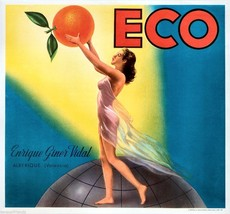 ECO Orange Citrus Fruit Crate Label Art Print Valencia Erique Viner Vidal Spain - $9.87