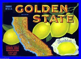 Golden State Lemon Fruit Crate Label Art Print Sunkist Citrus Tulare CA - $9.87