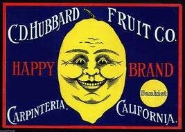 Happy Lemon Fruit Crate Label Art Print Citrus Sunkist Hubbard CO Carpenteria CA - $9.87