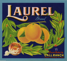 "Laurel  Oranges Crate Label Art Print Sunkist Call Ranch Corona CA  8.5""X9.5"" - $8.90"
