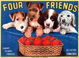 Four Friends Puppy Dogs Tomato Fruit Crate Labe... - $9.87