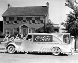Coca Cola Soda Founain Advertising Truck Photo Vintage Art Deco era photo - $7.47