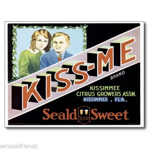 Kiss Me Fruit Crate Label Art Print Vintage Kissimee Growers Kissimee FL - $9.87