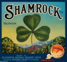 "Shamrock Valencias Orange Crate Label Art Print Placentia Orange Co CA 8.5""x9"" - $7.47"