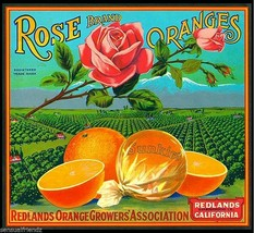 Rose Orange  Fruit Crate Label Art Print  Sunkist Redland Growers Ass California - $9.87