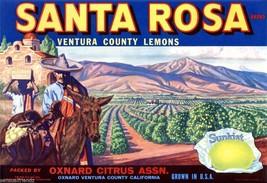 Santa Rosa Fruit Crate Label Art Print Sunkist  Lemons  Oxnard CA - $9.89