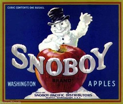 Snoboy Apples Fruit Crate Label Art Print  Snowboy Pacific Dist Seattle WA - $9.87