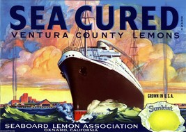 Sea Cured Sunkist Lemon Citrus Crate Label Art Print  Seaboard Oxnard Ca - $8.31