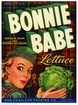 Bonnie Babe Lettuce Fruit Crate Label Art Print Dan Danilson Pack Co Salinas CA - $9.87